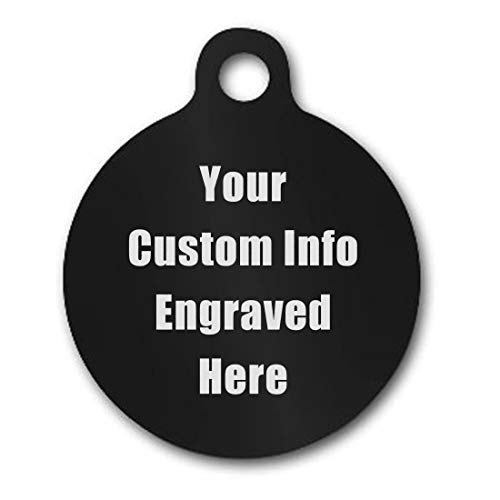 Hat Shark Vet Recommended Custom Personalized 3D Laser Engraved Shaped Pet ID Tag Made in USA, Strong Anodized Aluminum for Him, for Her, for Boys, for Girls, for Husband, for Wife,(Round Black)