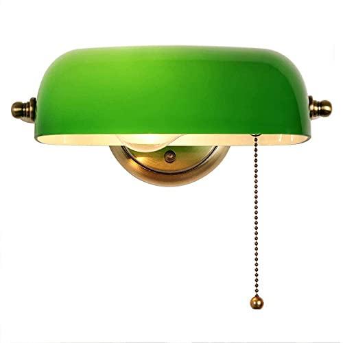 ZMLG Lámpara De Pared De Banquero De Vidrio Verde Con Inter