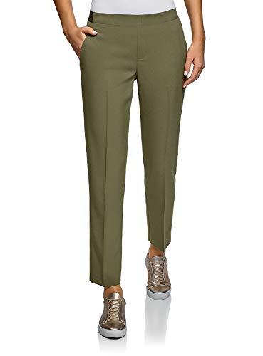 oodji Ultra Mujer Pantalones Recortados con Cintura Elástica, Gris, ES 42 / L