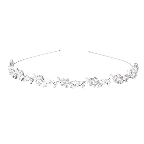 Price comparison product image Women's Wedding Crystal Bridal Flower & Leaves Crown Headband Tiara Headdress