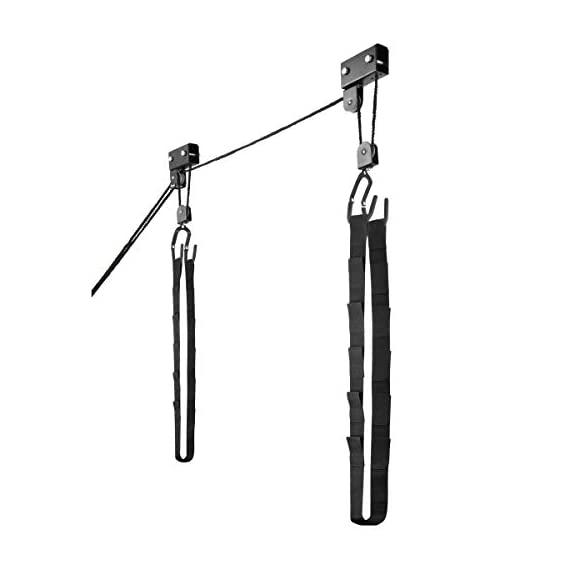 RAD Sportz Kayak Hoist Set – Overhead Pulley System with 125 lb Capacity for Kayaks, Canoes, Bikes, or Ladder Storage (2… 3 SET OF 2 CEILING HOISTS – The set of 2 storage hoists are ideal for keeping your kayaks, canoes, bikes, or ladders suspended overhead for convenient out of the way storage in your garage or shed PULLEY SYSTEM – The hoists utilize a pulley system with a safety locking mechanism that makes it easy to lift and safely store equipment up to 125-pounds RUBBER COATED HOOKS – The hooks are designed with a rubber coating to protect your kayak or canoe from scratches