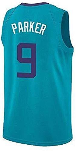 CXJ Herren NBA Trikot, Tony Parker # 9 Spurs Fan Trikot Basketball Uniform Tops Feines Besticktes T-Shirt Ärmellose Sportbekleidung,XXL
