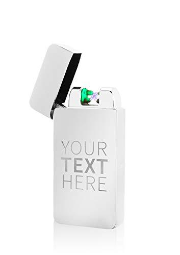 TESLA Lighter T10 Lichtbogen Feuerzeug, mit Wunsch-Gravur, personalisiert als Geschenk zu Weihnachten, Geburtstag etc. Elektronisches Feuerzeug, wiederaufladbar per USB inkl. Geschenkverpackung Silber
