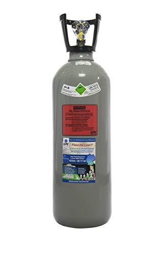 10 kg Kohlensäure Flasche/Neue CO2 Flasche mit Steigrohr/Tauchrohr (Eigentumsflasche) gefüllt mit Kohlensäure (CO2) Lebensmittelqualität E290, kurze Bauform, 10 Jahre TÜV ab Herstelldatum, Made in EU