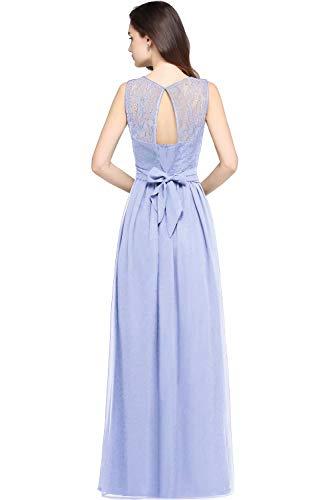 Damen Elegant A-Linie Abiballkleid Chiffon Abschlussballkleid lang Hell Lila 36