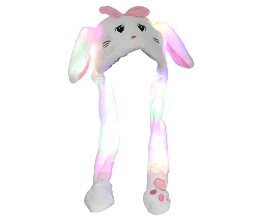 Bonnet avec Oreilles Qui Bougent Chat Blanc avec Lumières LED Animal en Peluche Chapeau Drôle Taille Unique pour Enfants et Adultes Accessoire Anniversaire Carnival Fête