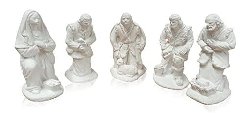 Adoración de los pastores. 5 Figuras de escayola para Pintar. Figuras de Belén Nacimiento de Navidad.
