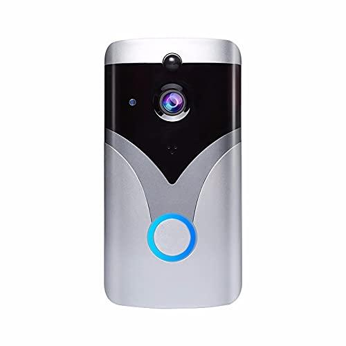 JiaHang VíDeo HD 1080p con ComunicacióN Bidireccional, Video Doorbell AplicacióN ConversacióN Remota Audio Altavoz VisióN Nocturna por Infrarrojos para Una FáCil InstalacióN For iOS & Android