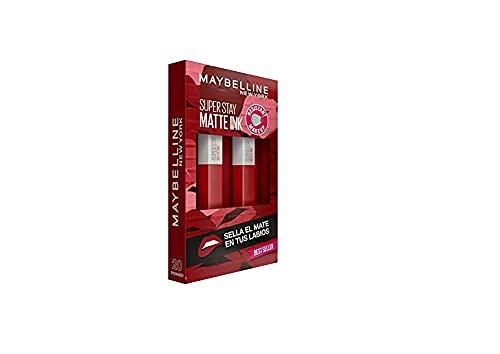 Maybelline New York, SuperStay Matte Ink, Cofre 2 Pintalabios Permanentes Líquidos de Larga Duración, Efecto Mate, Maquillajes Labiales, Tono 20 Pioneer - 2 Unidades, 10 ml