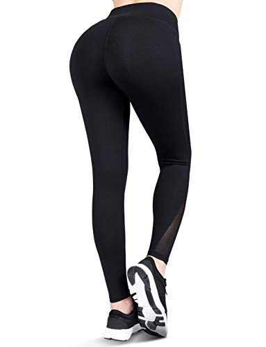 High Waisted Yoga Pants with Pockets - Tummy Control, Squat-Proof Workout Pants for Women, 4 Way Stretch Yoga Leggings Black