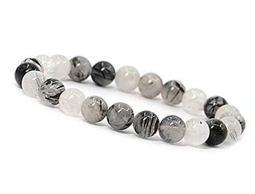 Beads Hub Black Rutile Quartz Round Smooth Beads 8 mm Stretrchable Bracelet SB-66 for Woman,Man,Gift,Girls,Boys,Friendshipband