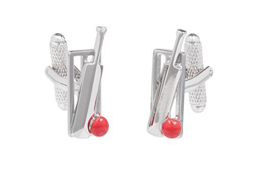 Batte et balle de Cricket-Rouge-Osier-Boutons de manchettes-Onyx Art livré dans boîte