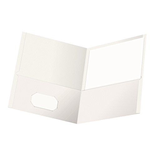 Oxford Twin-Pocket Folders, Textured Paper, Letter Size, White, Holds 100 Sheets, Box of 25 (57504EE)