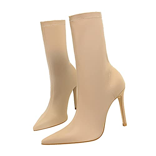 Damen Stretch Lycra Winterstiefel 10cm Sexy Stiletto Pumps 20cm Lange Stiefel Mode Kleid Stiefel (43EU,Aprikose)