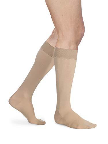 Sigvaris Essential Opaque 860 Calcetines altos con puntera cerrada para mujer con parte superior de agarre, 20-30 mmHg, Beige claro (Crispa)., 1