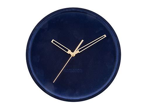 Karlsson - wandklok, fluweel Lush - fluweel - donkerblauw - Ø30 cm - Design: Delinah Bouwman