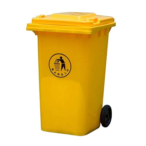 AINIYF 100 Liter Papierkorb, Außen Yellow High Capacity Kunststoff Abfalleimer for Gewerbe Wheeled Trash Can Straße Sanitation Trash Can (Color : Yellow, Size : 100L)