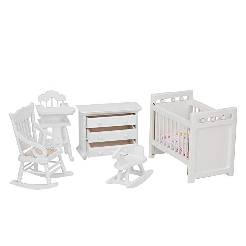 Good Accessory Dollhouse Children Bed, Perfect Fitment Modern Style Dollhouse Model, for Gifts Kids Children Dollhouse Decor(5-piece set)