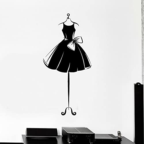 WERWN Vinile Adesivo da Parete Vestito Corto manichino Vestito Ballerina Ragazza Camera da Letto Home Decor Negozio Finestra Adesivo Arco murale Arte