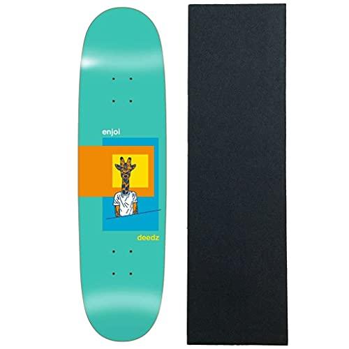 "Enjoi Skateboard Deck Deedz Shaped Skart 8.375"" x 31.6"" with Grip"