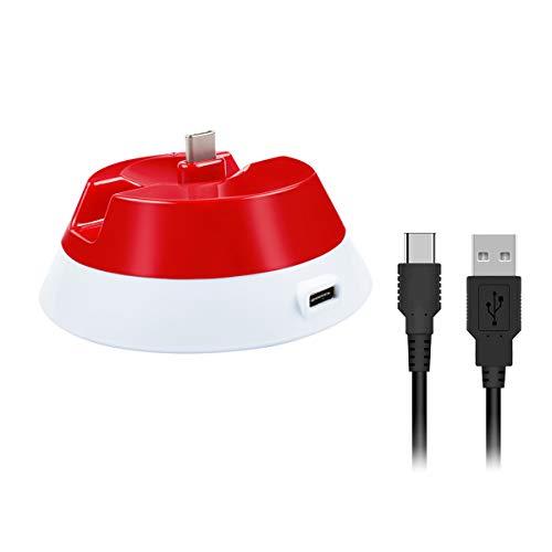 Bonacell Elf Ball oplader Vervanging 2-in-1 oplader standaard voor Switch Poke Ball Plus Controller deel compatibel met Nintendo Switch Game Pokeball Plus met USB-oplaadkabel Elf Ball patroon voor kinderen