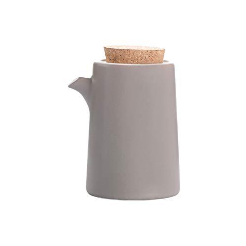 Gris Botella dispensadora de aceite, Aceitera de Cerámica - Dispensador de Aceite de Oliva con Tapón - Botella Contenedor de Aceite de Oliva, Vinagre, Salsa de Soja - Aceiteras de Cocina