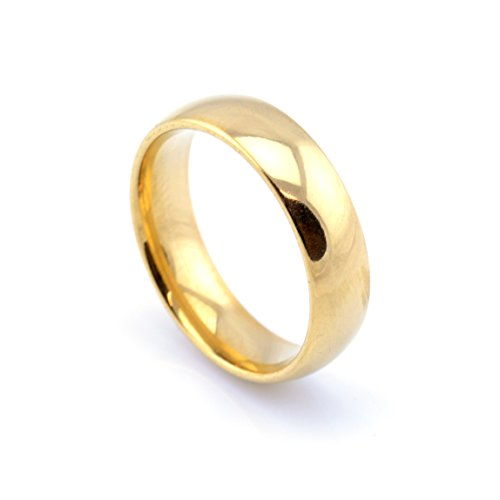Vault 101 Limited 18k Gold Plated Men's Women's Stainless Steel Wedding Band Ring (6mm Wide - Size Q)