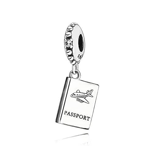 LIIHVYI Pandora Charms para Mujeres Cuentas Plata De Ley 925 Pasaporte Colgante Compatible con Pulseras Europeos Collars
