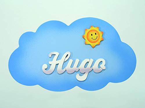 Cartel personalizado con el nombre en letras de madera, regalo infantil con forma de *nube*, original para decoración de pared o puerta en la habitación.