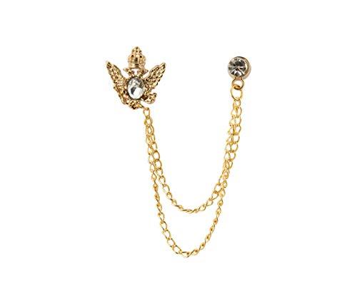 Knighthood Crown Stone mit Kette zum Aufhängen Brosche/Kragen/Reversnadeln für Herren Reversnadel/Lapel Pin/Anzug/Sakko