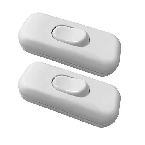 Mila-Amaz 2Pcs Interruptor Torpedo Interruptor para electrodomésticos Interruptor de cable AC 250V 6A, Blanco