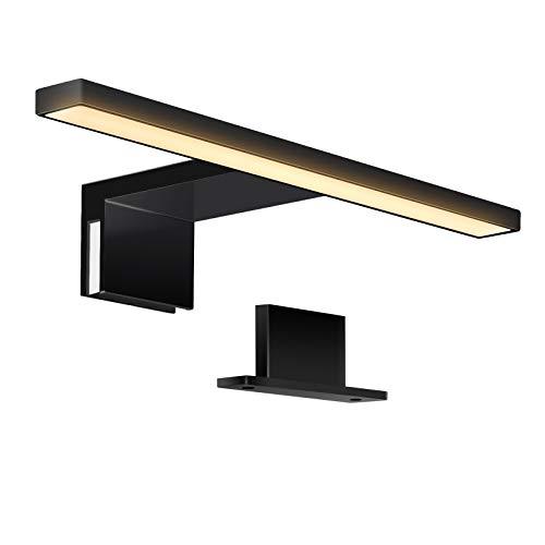 ERWEY 2 in 1 LED Spiegelleuchte IP44 Badleuchte LED Badlampe Schwarz Schminklicht 230V Schrankleuchte 3000K warmweiß Aufbauleuchte Bad Klemmleuchte Wandleuchte (Schwarz 30cm 3000K 5W)