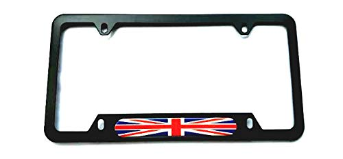 Union Jack British UK United Kingdom Flag Sport License Plate Cover Frames Holder with Screw Caps Stainless Steel Rust Free (1x Black)