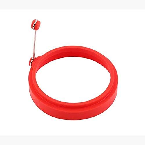 Delleu-Moule rond en silicone anti-adhésif pour œufs au plat, œufs Bénédicte, omelettes, pancakes, sandwichs du petit déjeuner, etc. Red