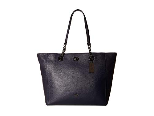 COACH Polished Pebble Leather Turnlock Chain Tote Dk/Navy One Size