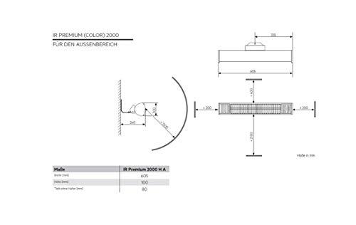 AEG Terrassen-Heizstrahler IR Premium 2000 H A, 2 kW, hochheffiziente Qualitäts-Goldröhre, anthrazit, 234789 - 2