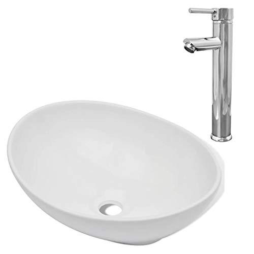 Festnight- Keramik Bad-Waschbecken mit Wasserhahn Badezimmer Oval Handwaschbecken Aufsatzbecken Waschschale Weiß