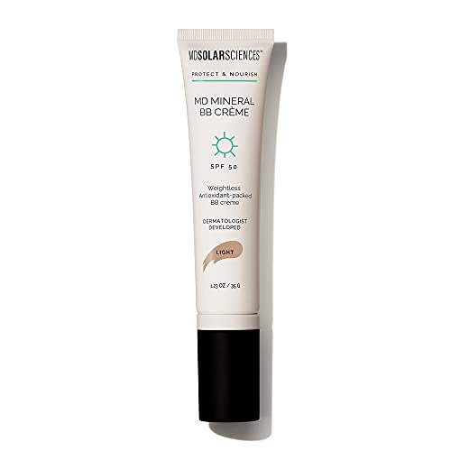 MDSolarSciences Crème Mineral Beauty Balm SPF 50 OilFree Tinted Matte BB Crème Perfects Skin Provides Broad Spectrum UV Protection Oz, Light/Medium, 1.23 Ounce