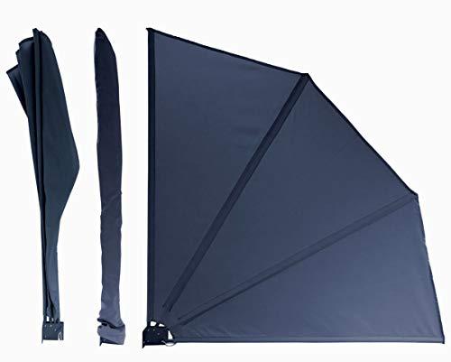 QUICK STAR Sichtschutz Fächer Premium 140 x140cm Balkon Trennwand Windschutz Sonnenschutz Anthrazit
