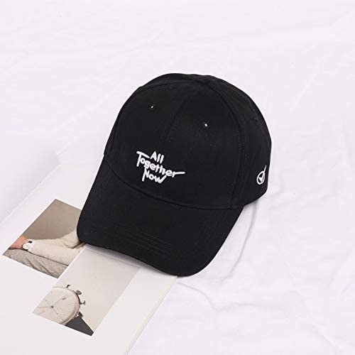 H/A Korean Letters Embroidery Fashion Casual Baseball hat Boys and Girls Spring and Summer Outdoor Sun Cap Tide PINGP (Color : Black, Size : Adjustable)