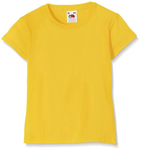 Fruit of the Loom Valueweight, T-Shirt Bambina, Giallo (Sunflower), 3-4 anni (Dimensioni Produttore: 22)