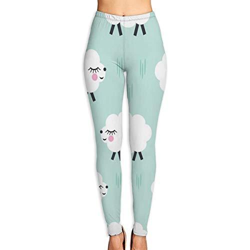 OOworld Gedruckte extra Lange Frauen Yoga Leggings Lachende Schafe Hohe Taille Yogahosen XL