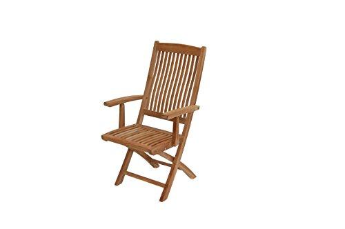 Ploß Klappstuhl Arlington - Premium Teakholz-Stuhl mit FSC-Zertifikat - Terrassenstuhl klappbar - Holz-Gartensessel Braun - Gartenstuhl mit Armlehne - Balkonstuhl ergonomisch geformt