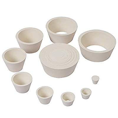 ZOENHOU 2 Set 18 Count White Filter Adapter Cones Set Stackable Buchner Funnel Adapters Tapered Collar Flask Adapters Vulcanized Rubber Adapter Cone for Filtration from ZOENHOU