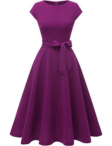 DRESSTELLS Midi 1950er Vintage Retro Rockabilly Kleid Damen elegant Hochzeit Cocktailkleid Purple M