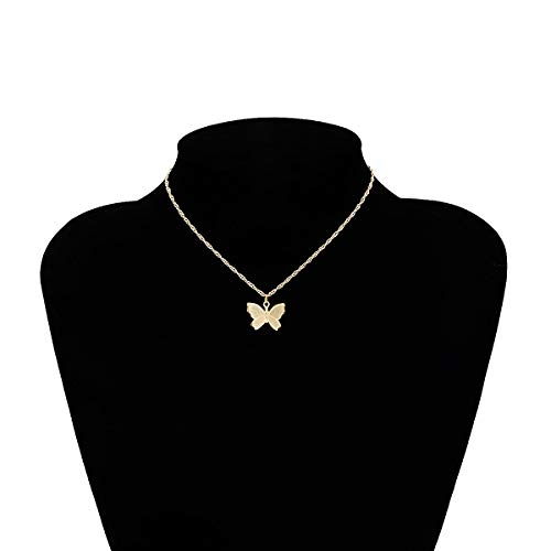 weichuang Vintage Multilayer Butterfly Pendant Necklaces For Women Fashion Moon Star Charm Gold Choker Necklace Bohemian Jewelry Party (Metal Color : 03)