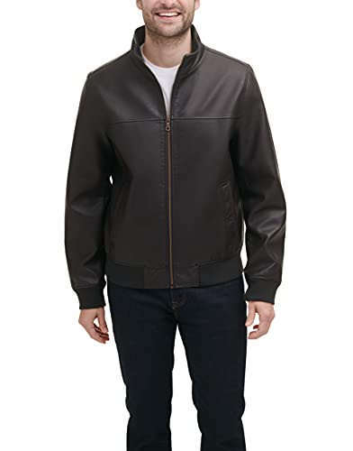 Tommy Hilfiger Men's Smooth Lamb Faux Leather Unfilled Bomber Jacket, Dark Brown, S
