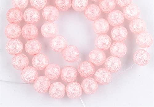 YELVQI Borla Cuentas de Piedra Natural Rosa Nieve Agrietada Cristal Redondo Redondo Perlas espaciadoras Sueltas para joyería Fabricación de Bricolaje Collar de Pulsera 6/8/10 / 12mm 15'