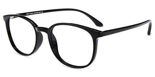 Firmoo Blaulicht Lesebrille 3.0 Entspiegelt, Blaulichtfilter Computer Brille mit Sehstärke, Blaulicht UV Schutzbrille gegen Kopfschmerzen Anti Müdigkeit für Damen Herren, Schwarz