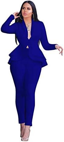 Royal blue pant suit plus size _image1